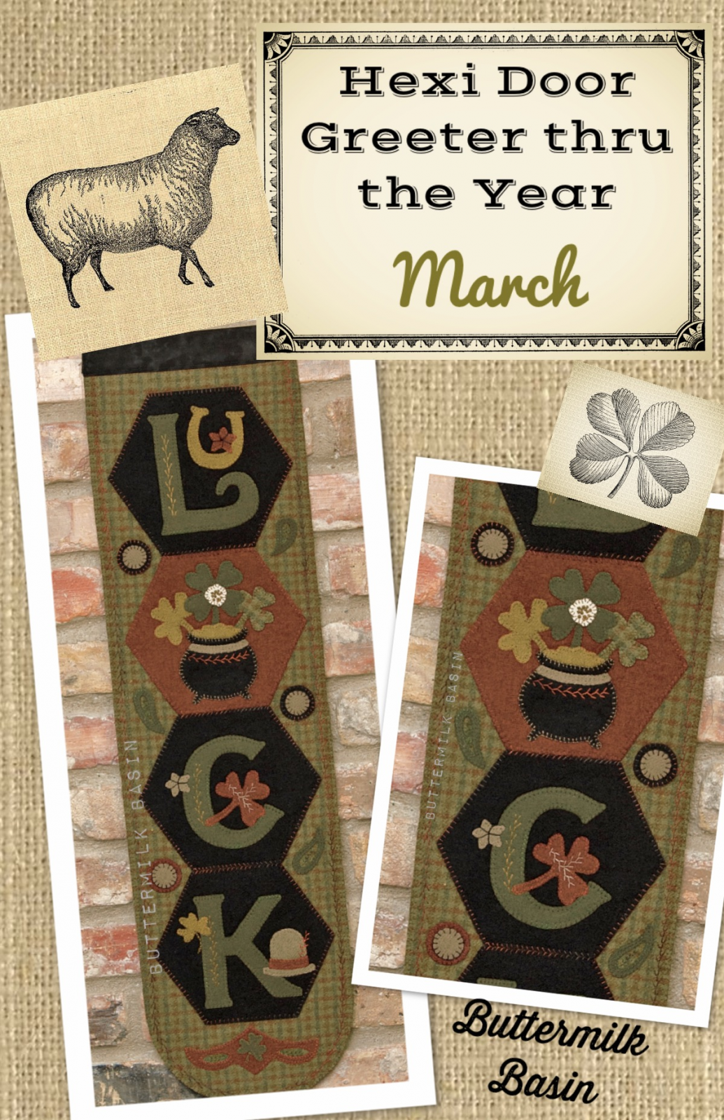 A Year of Hexi WORD Door Greeters * March KIT & Pattern