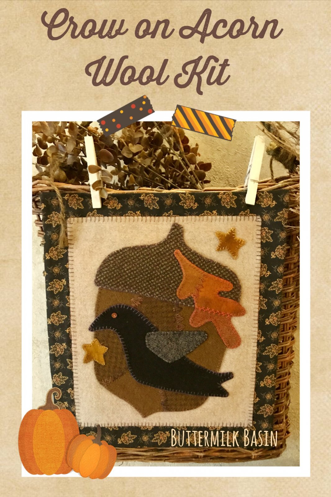 Crow on Acorn Wool Kit & Pattern
