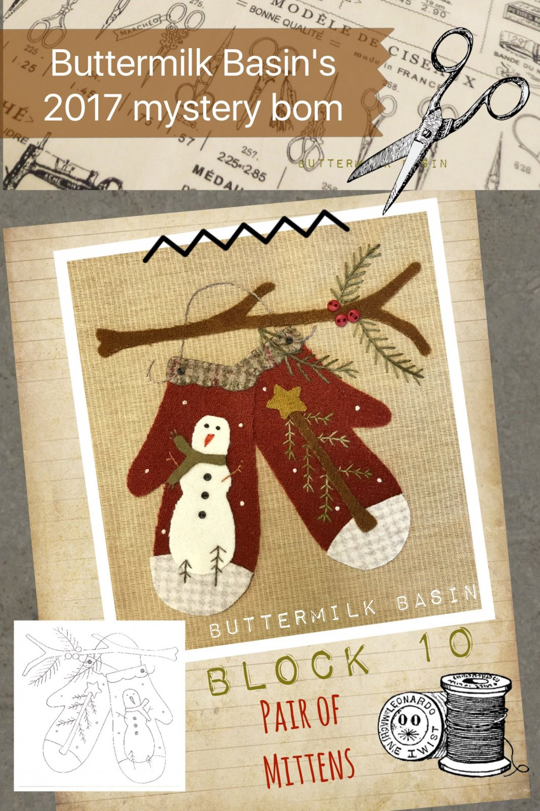 LIVE EACH SEASON Block 10 WOOL & Fabric KIT & Pattern