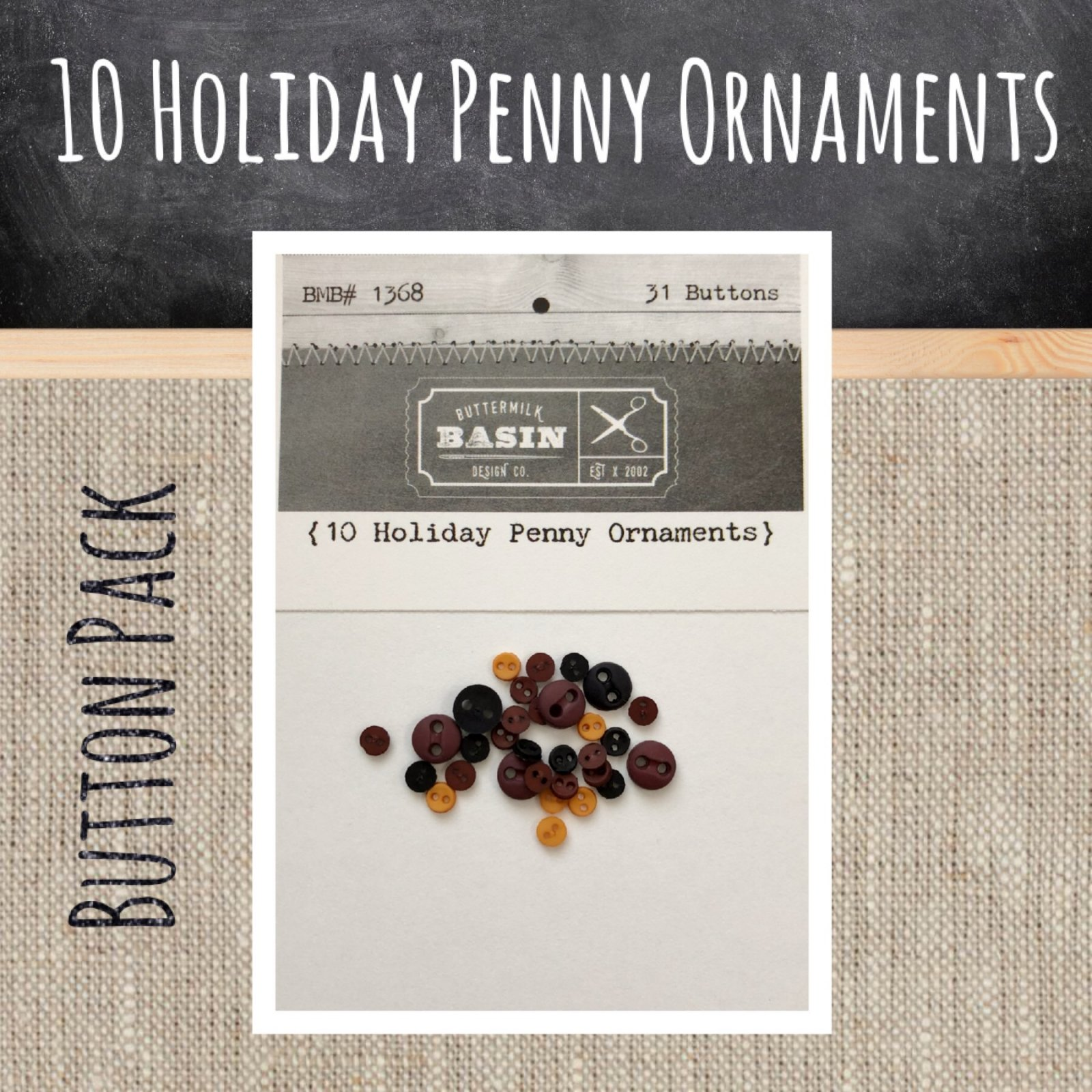 10 Holiday Penny Ornaments BUTTON Pack