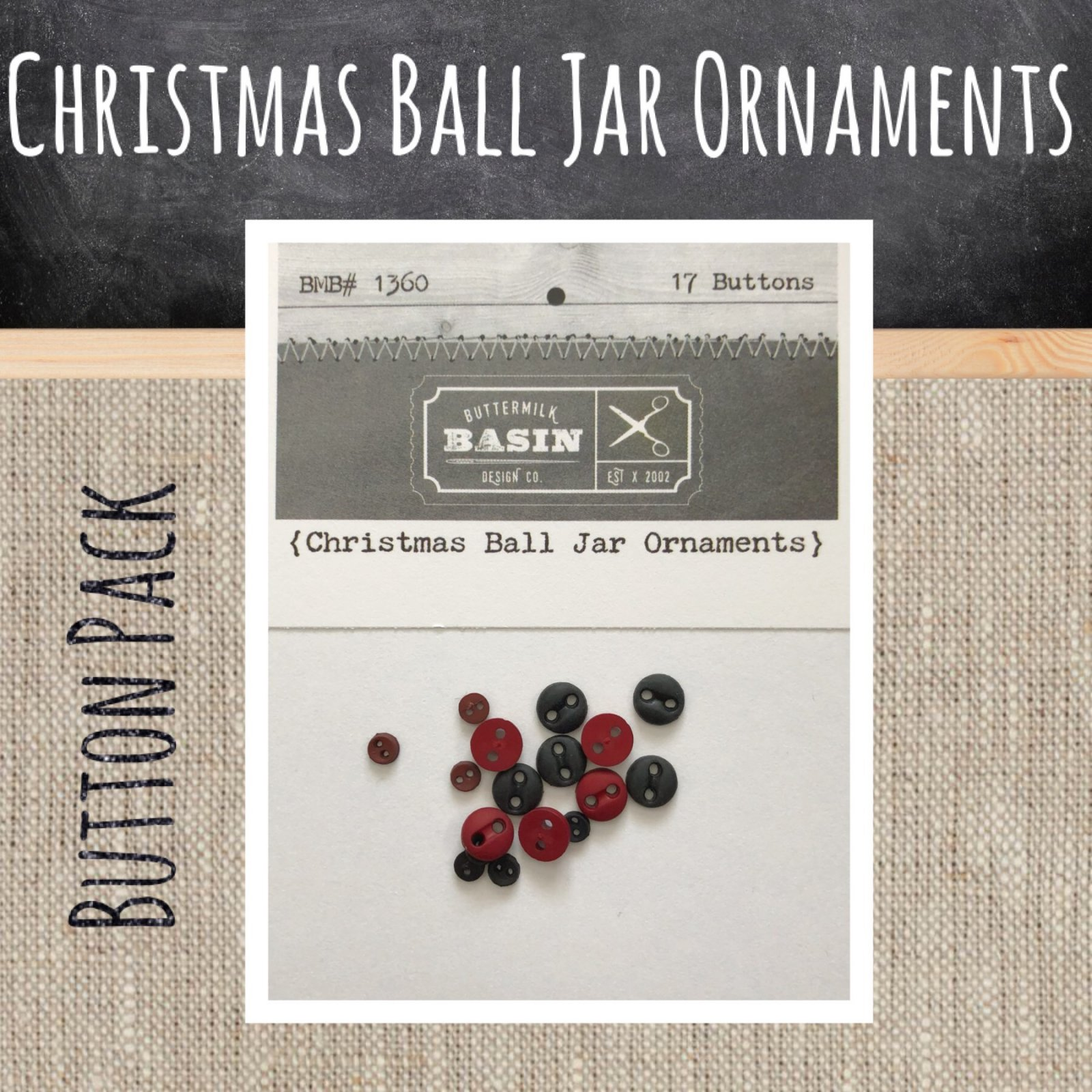 Christmas Ball Jar Ornaments BUTTON Pack