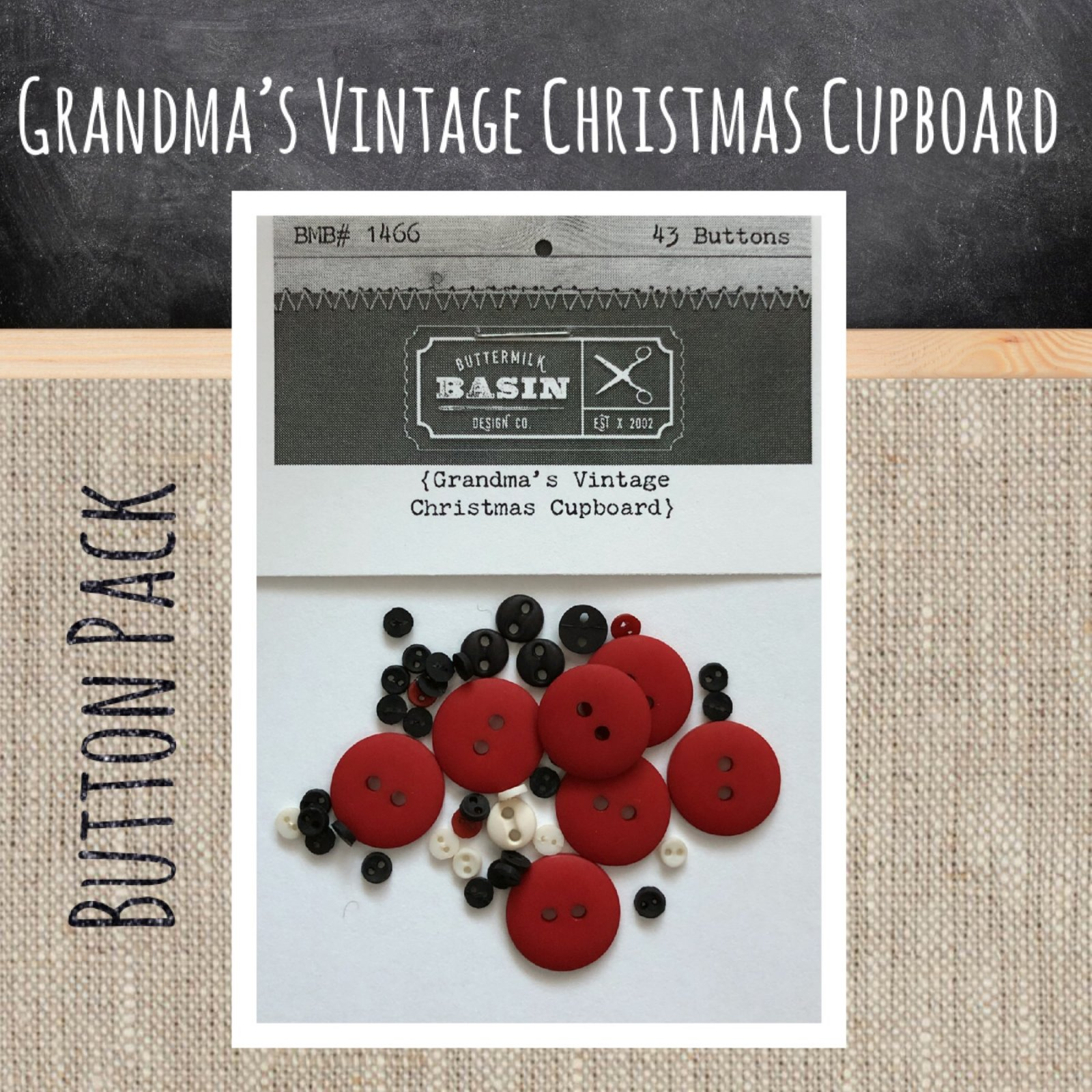 Grandma's Vintage Christmas Cupboard BUTTON Pack