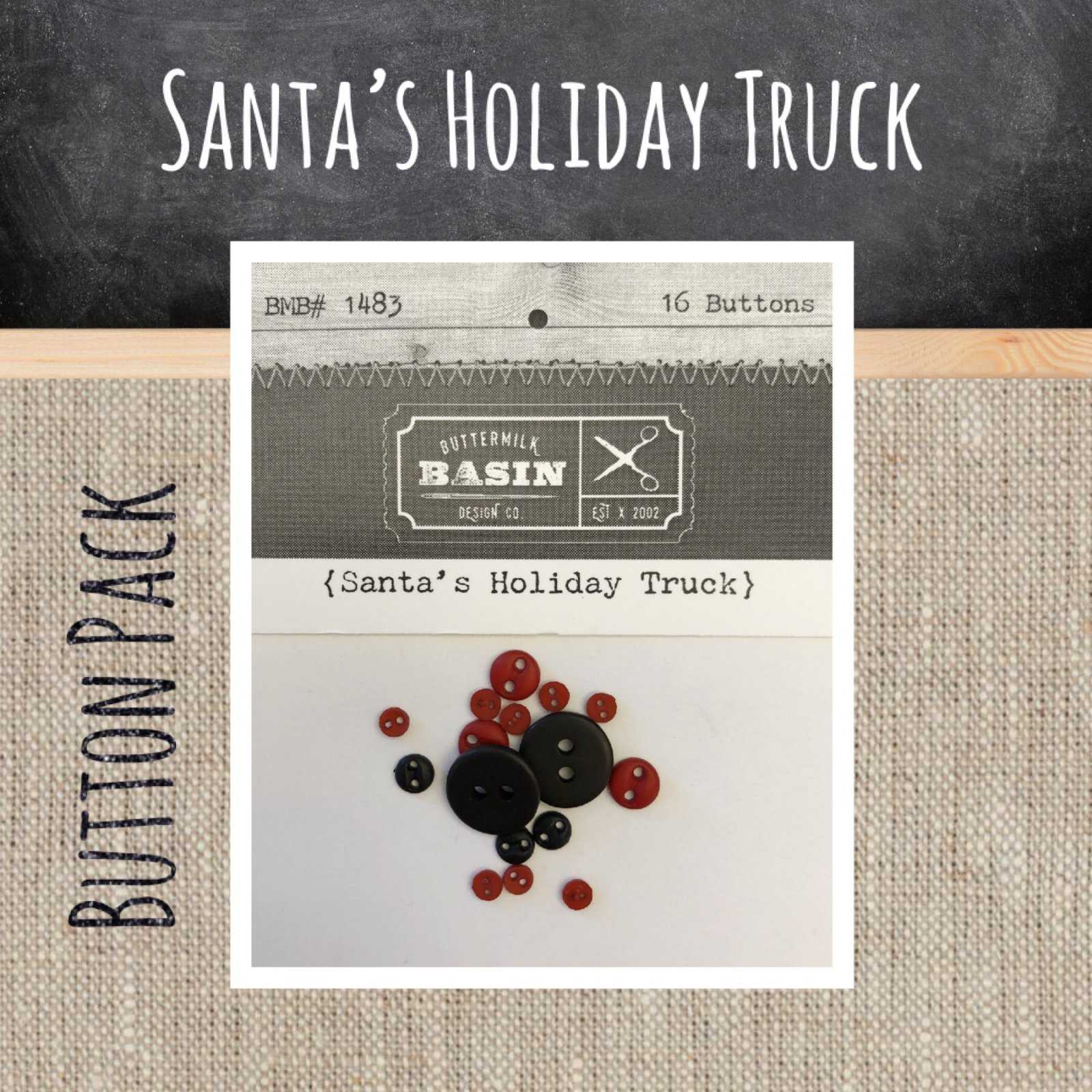 Santa's Holiday Truck BUTTON Pack
