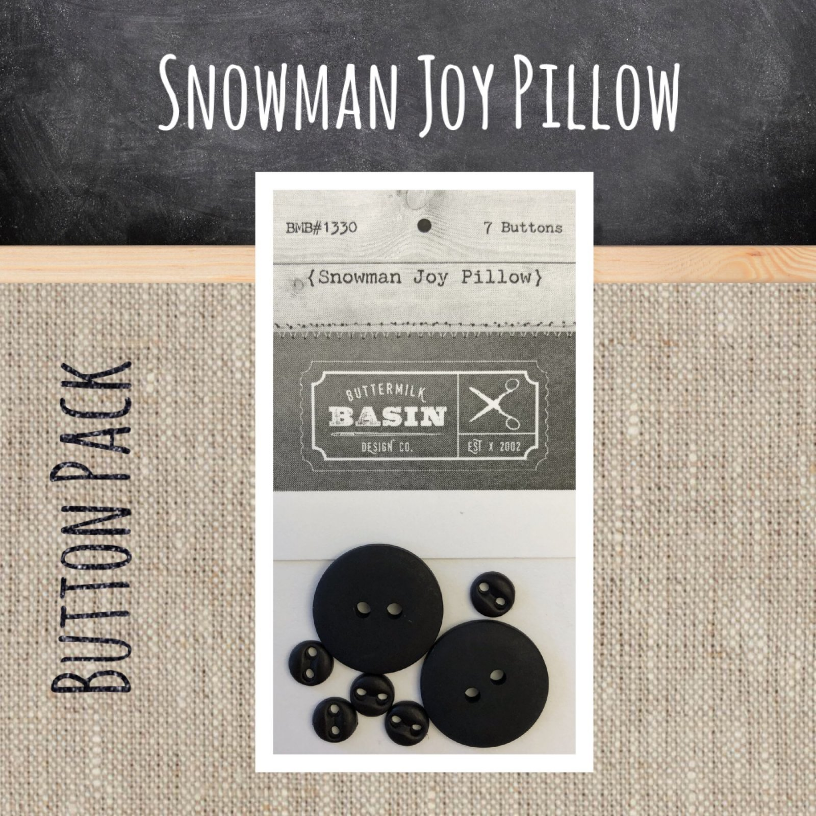 Snowman JOY Pillow BUTTON Pack