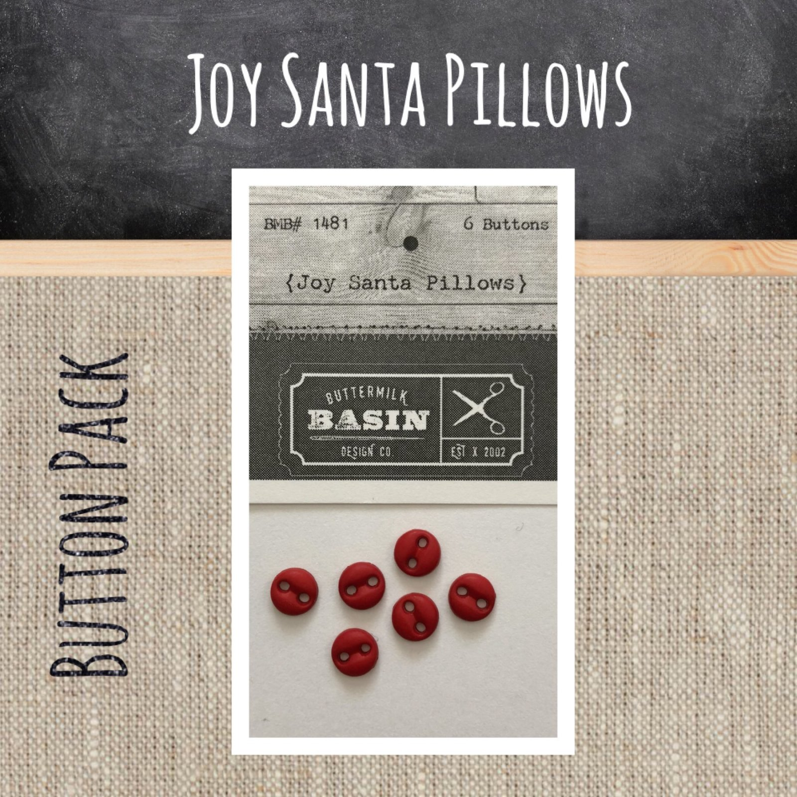 Joy Santa Pillows BUTTON pack
