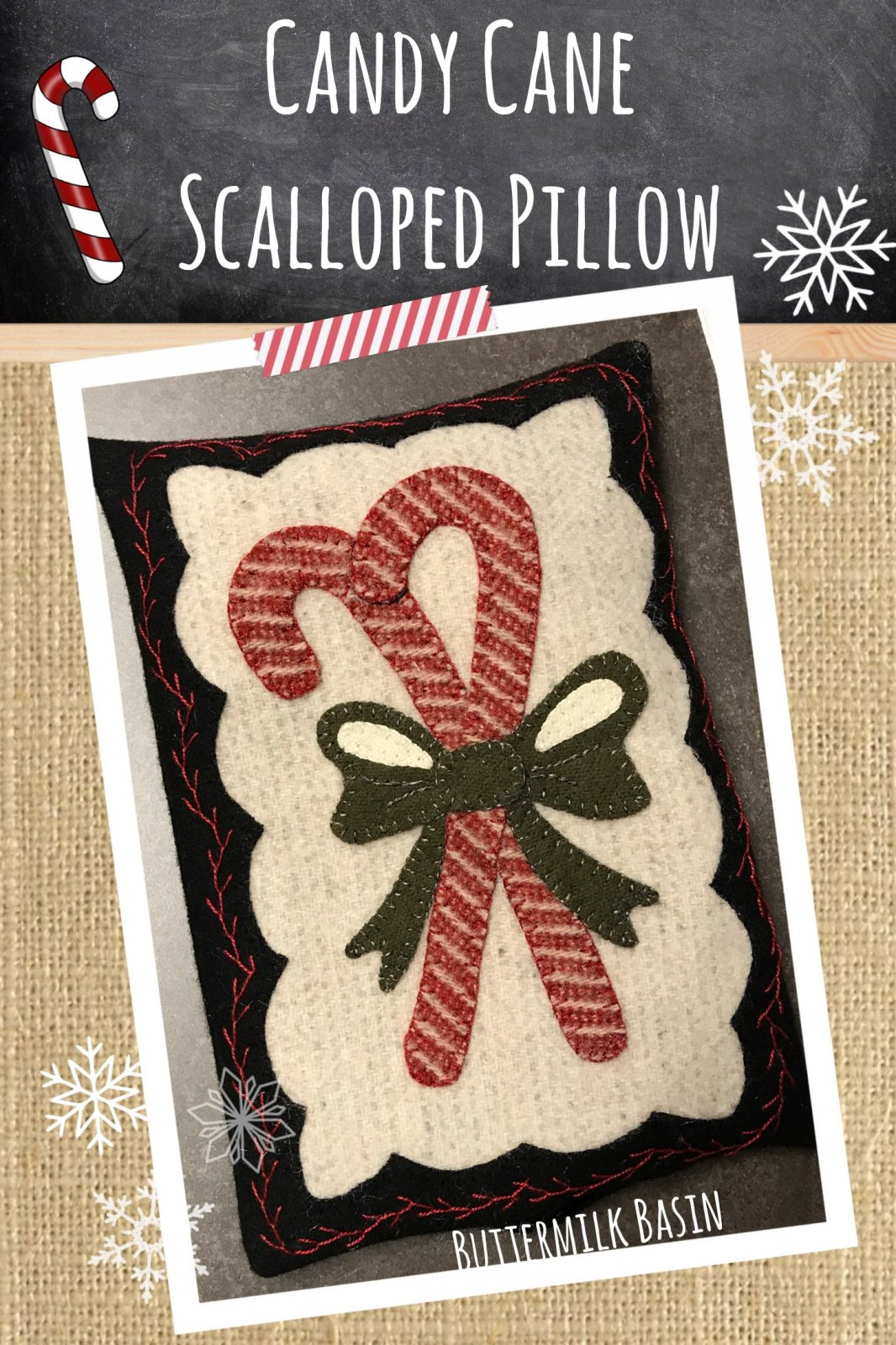 Candy Cane Scalloped Pillow * KIT