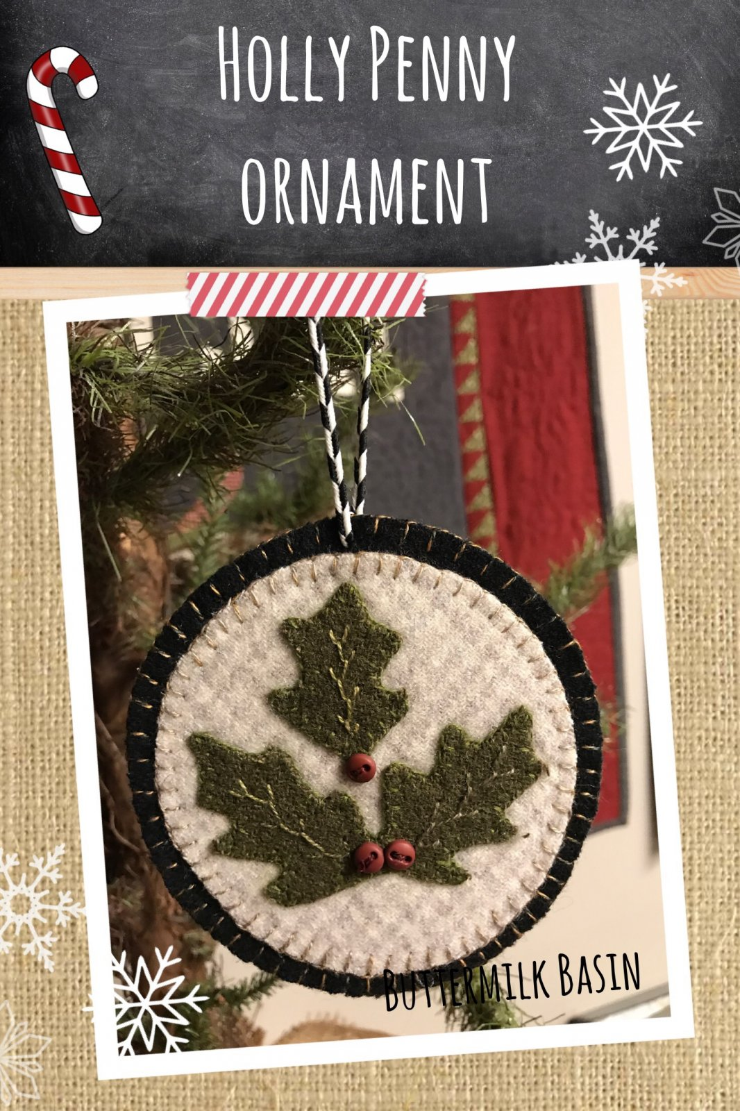Holly Leaves Penny Ornament * KIT