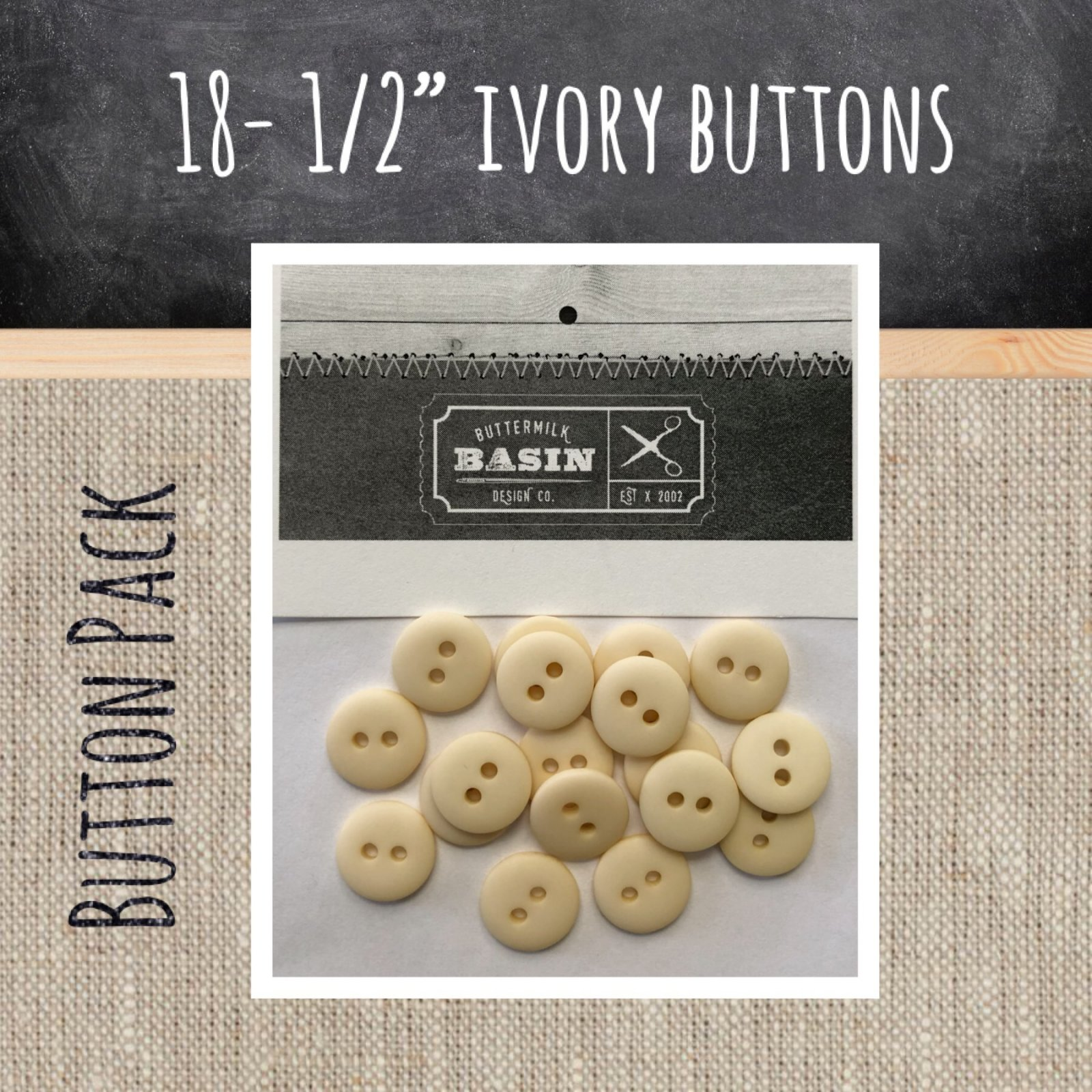 1/2 Ivory Button Pack