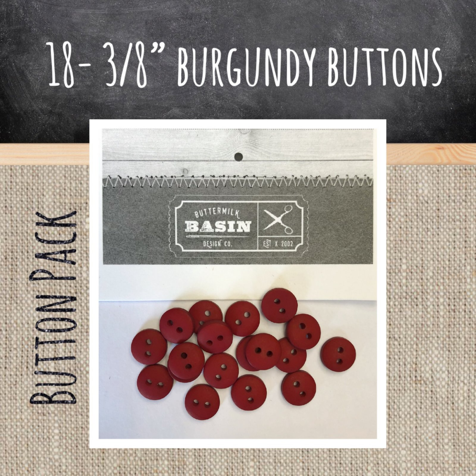 3/8 Burgundy Button Pack