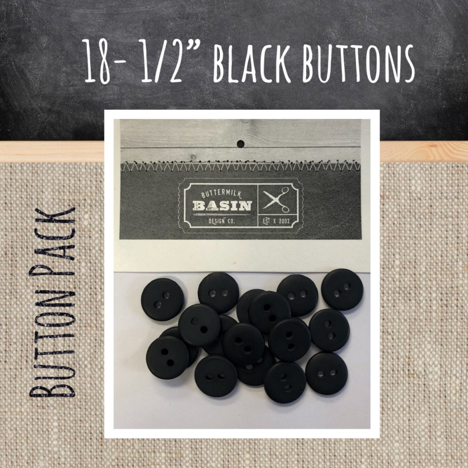 1/2 Black Button Pack