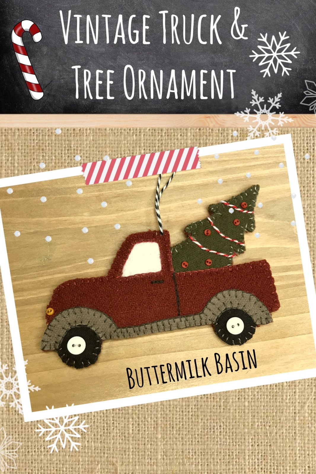 Vintage Truck & Tree Ornament * KIT & Pattern