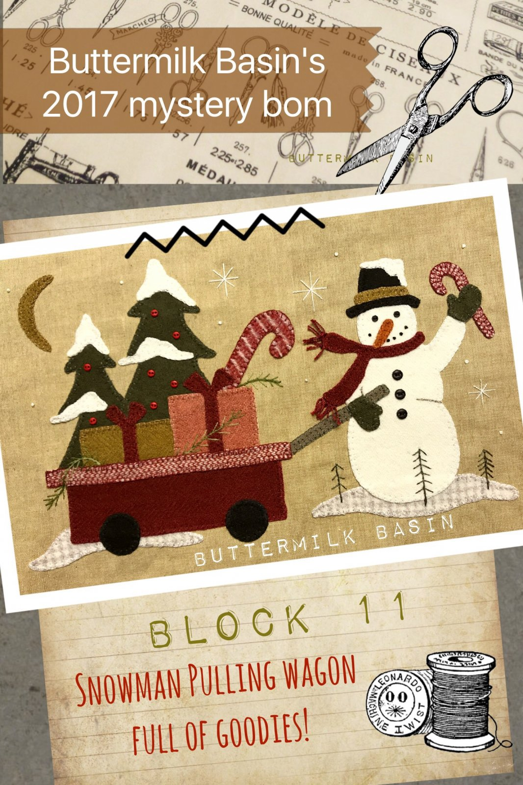 LIVE EACH SEASON Block 11 WOOL & Fabric KIT & Pattern
