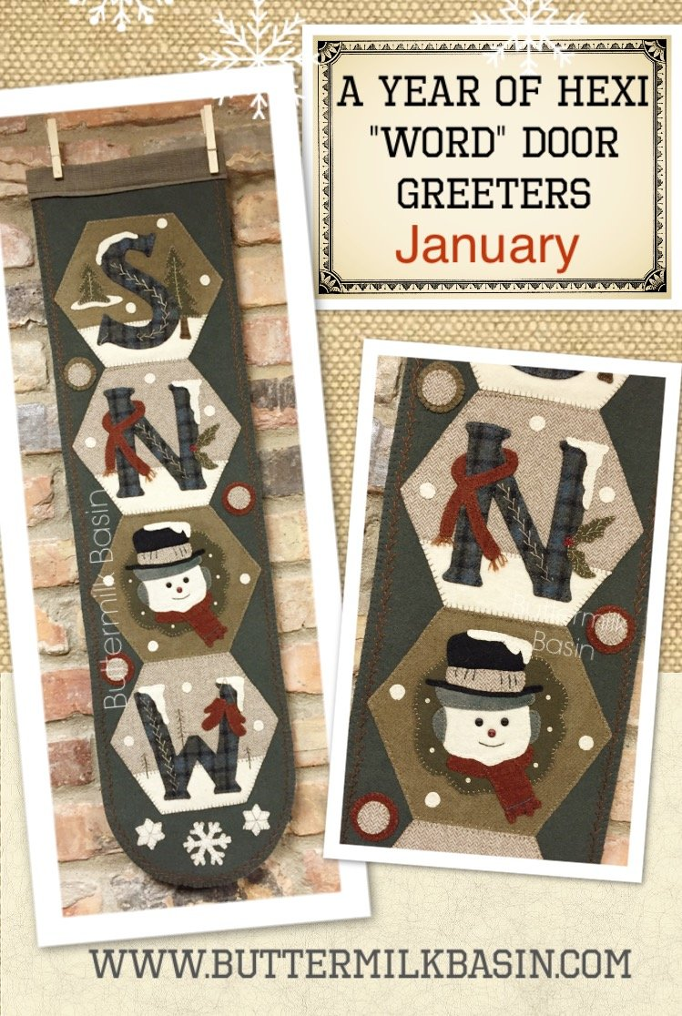 A Year of Hexi WORD Door Greeters * January KIT & Pattern