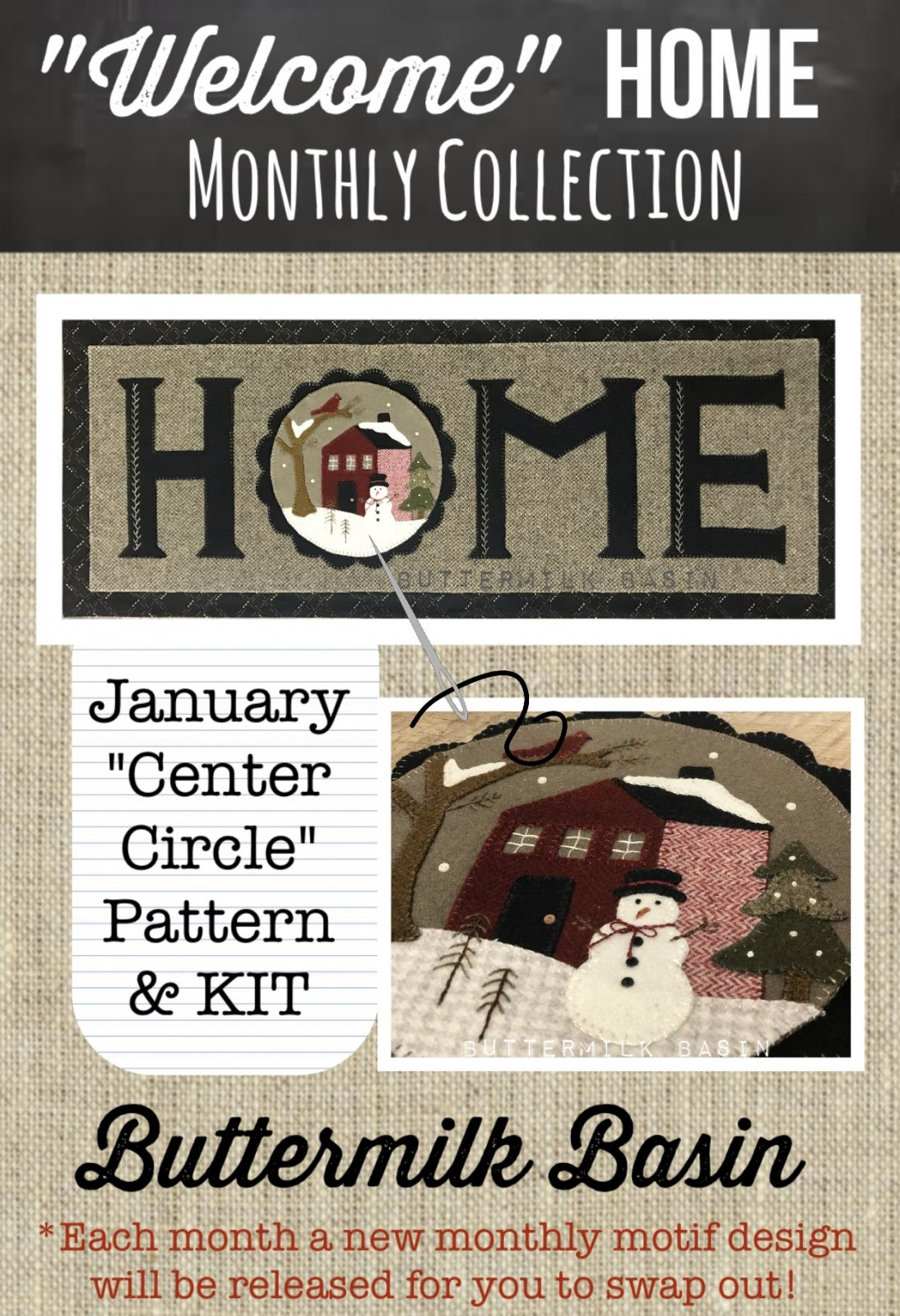 Welcome HOME January Center Circle PATTERN