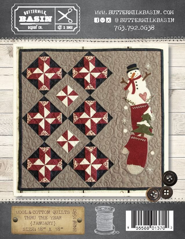 Wool & Cotton Quilts thru the Year * January WOOL KIT & Pattern