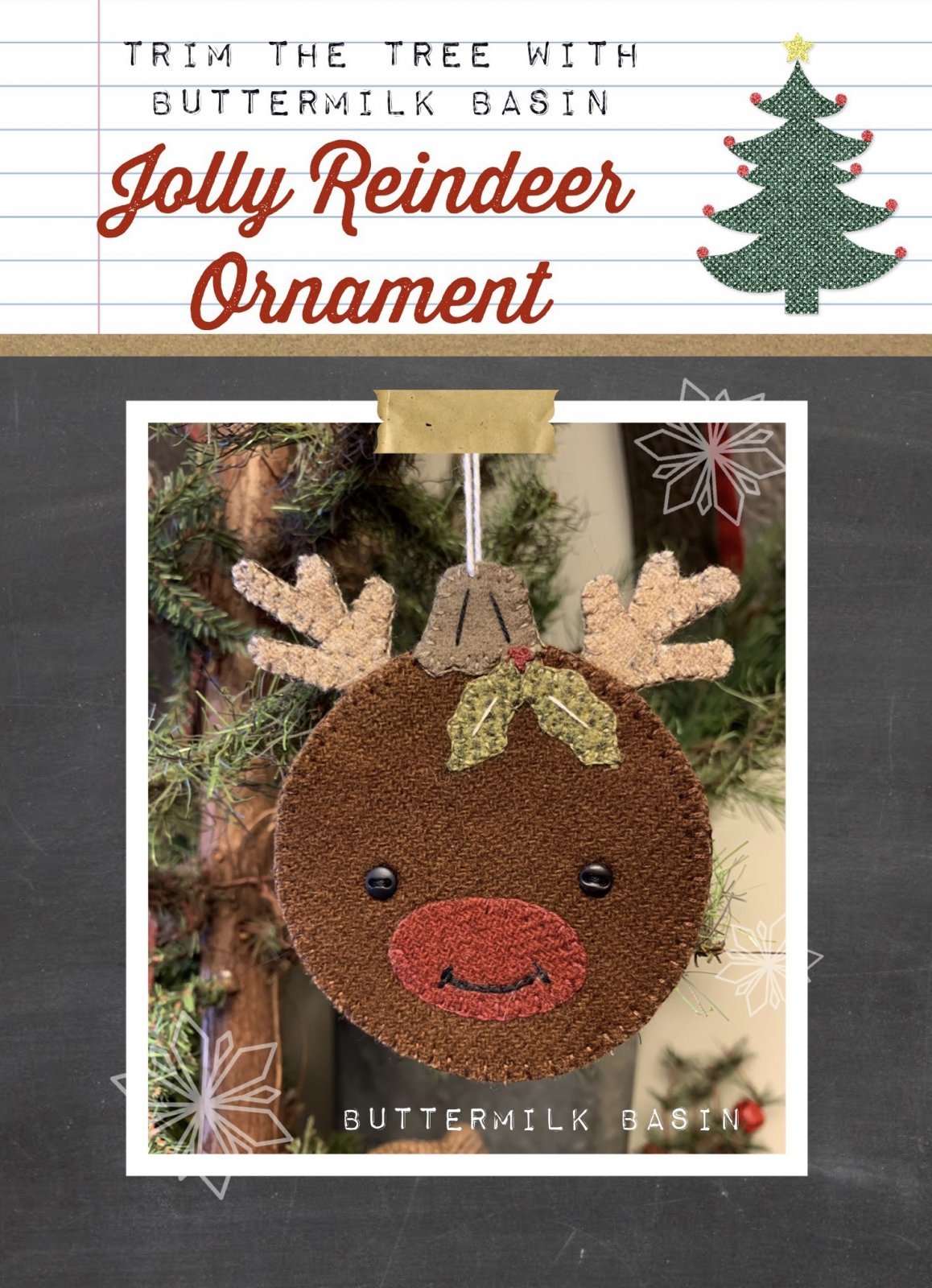 Jolly Reindeer Ornament Pattern and Kit
