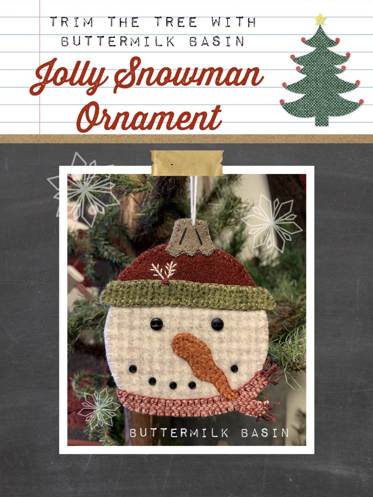Jolly Snowman Ornament Pattern and Kit