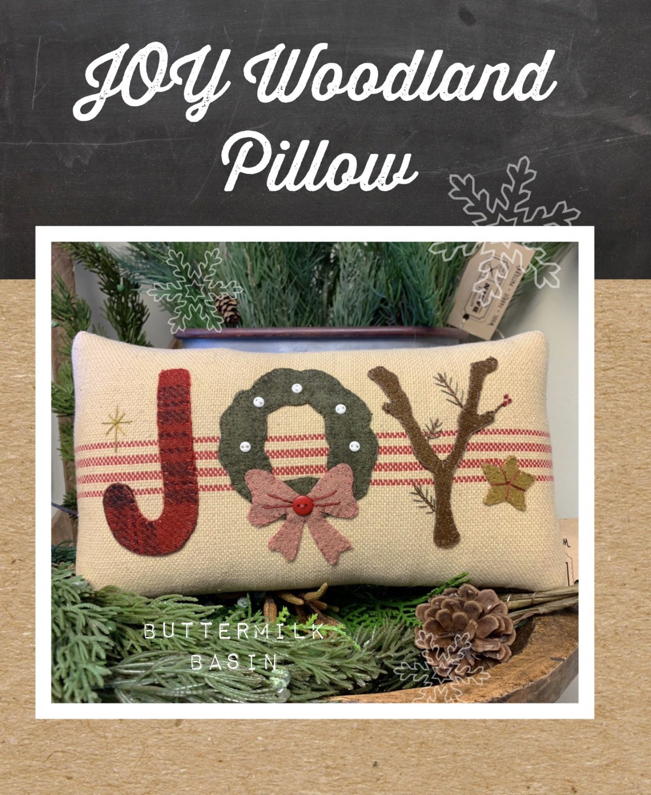 JOY Woodland Pillow * Pattern & Kit