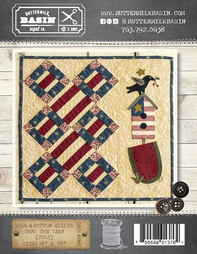 Wool & Cotton Quilts thru the Year * July WOOL KIT & Pattern