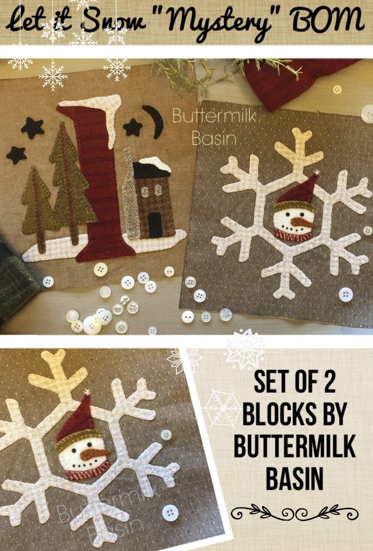 Let it Snow Mystery Blocks 4 & 5 {Snowflake and Letter I Block} * Pattern & Kit