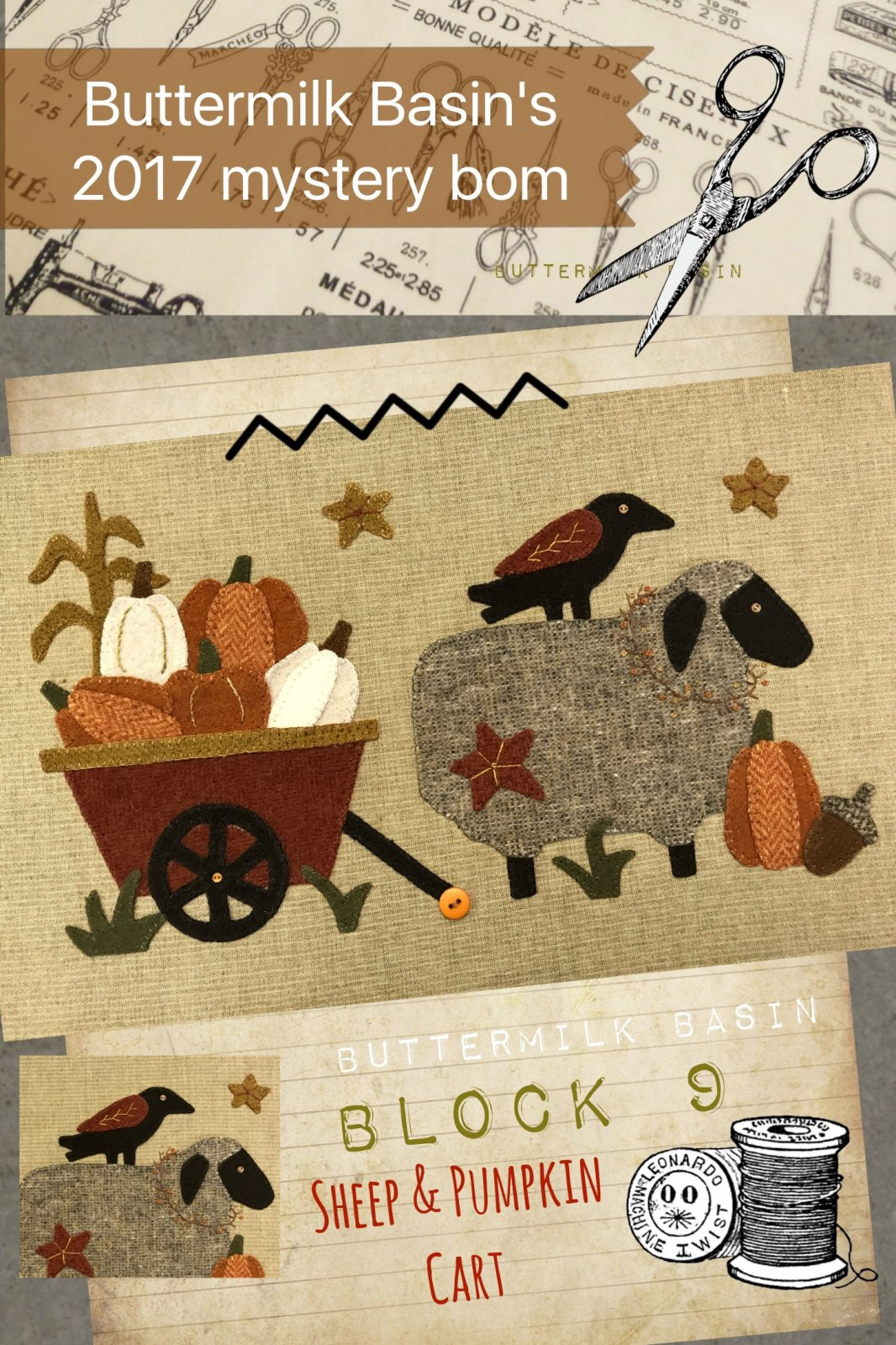 LIVE EACH SEASON Block 9 WOOL & Fabric KIT & Pattern
