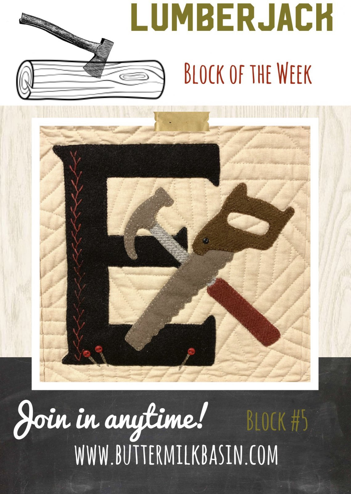 LUMBERJACK Quilt Block of the Week *Block 5 E Pattern & Kit