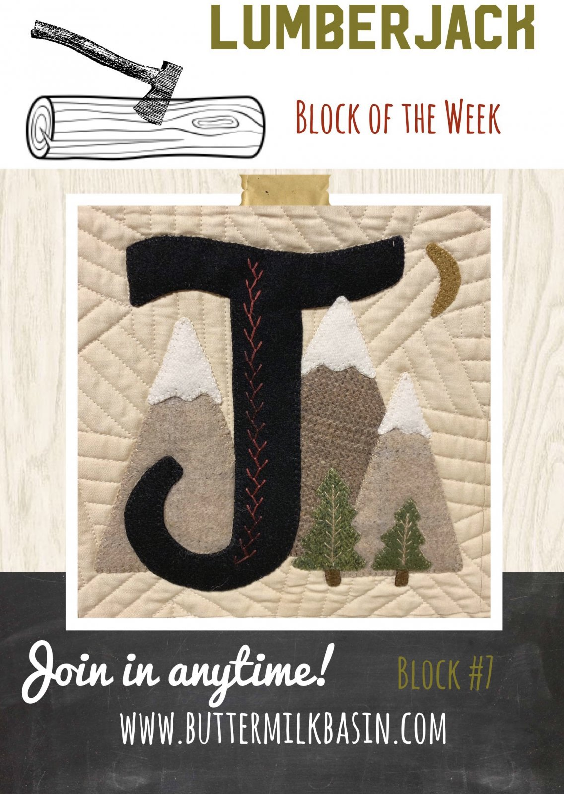 LUMBERJACK Block of the Week * Block 7 J Pattern & Kit