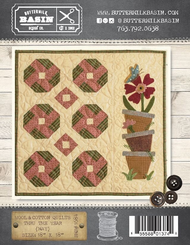 Wool & Cotton Quilts thru the Year * May WOOL KIT & Pattern