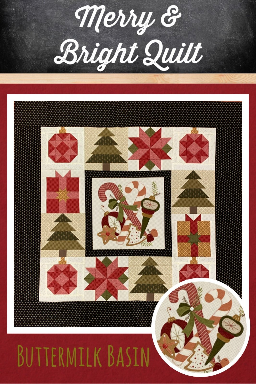 Merry & Bright Quilt *Fabric and Wool Kit & Pattern - copy