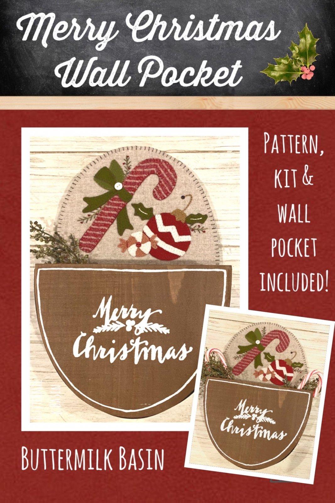 Merry Christmas Wall Pocket *Kit, Pattern & Wall Pocket