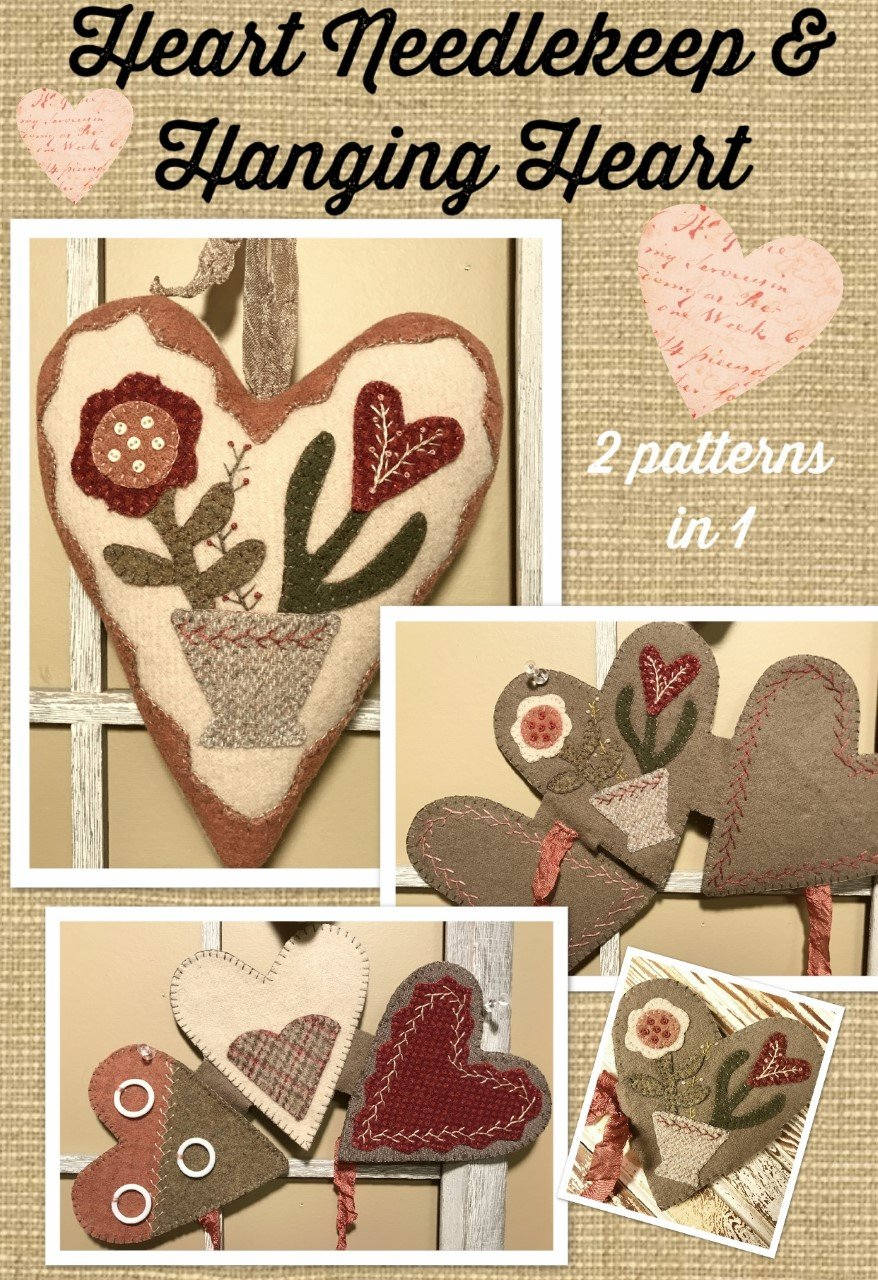 Heart Needlekeep & Hanging Heart KIT & Pattern