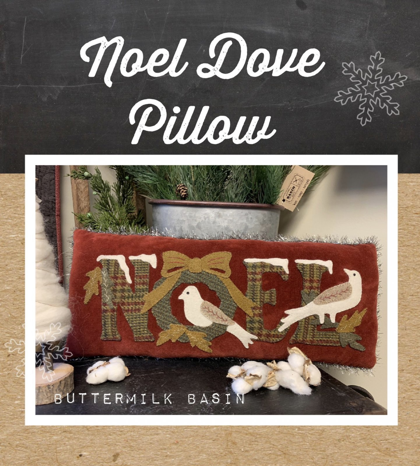 NOEL Dove Pillow * Pattern & Kit