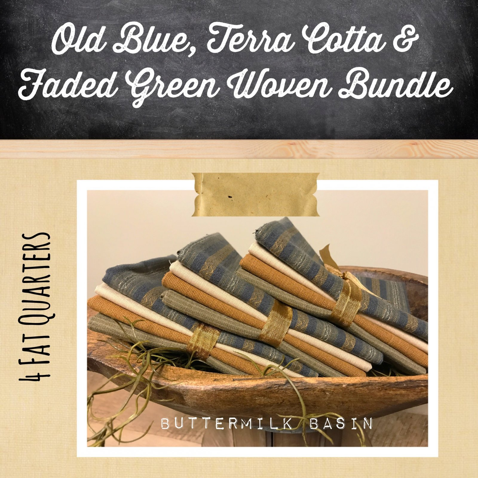 Old Blue, Terra Cotta & Faded Green Woven Bundle