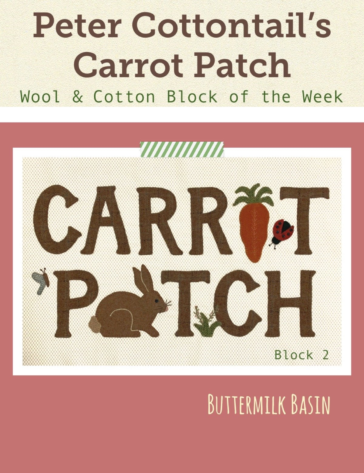 Peter Cottontail's Carrot Patch Block of the Week * Block #2 Kit & Pattern