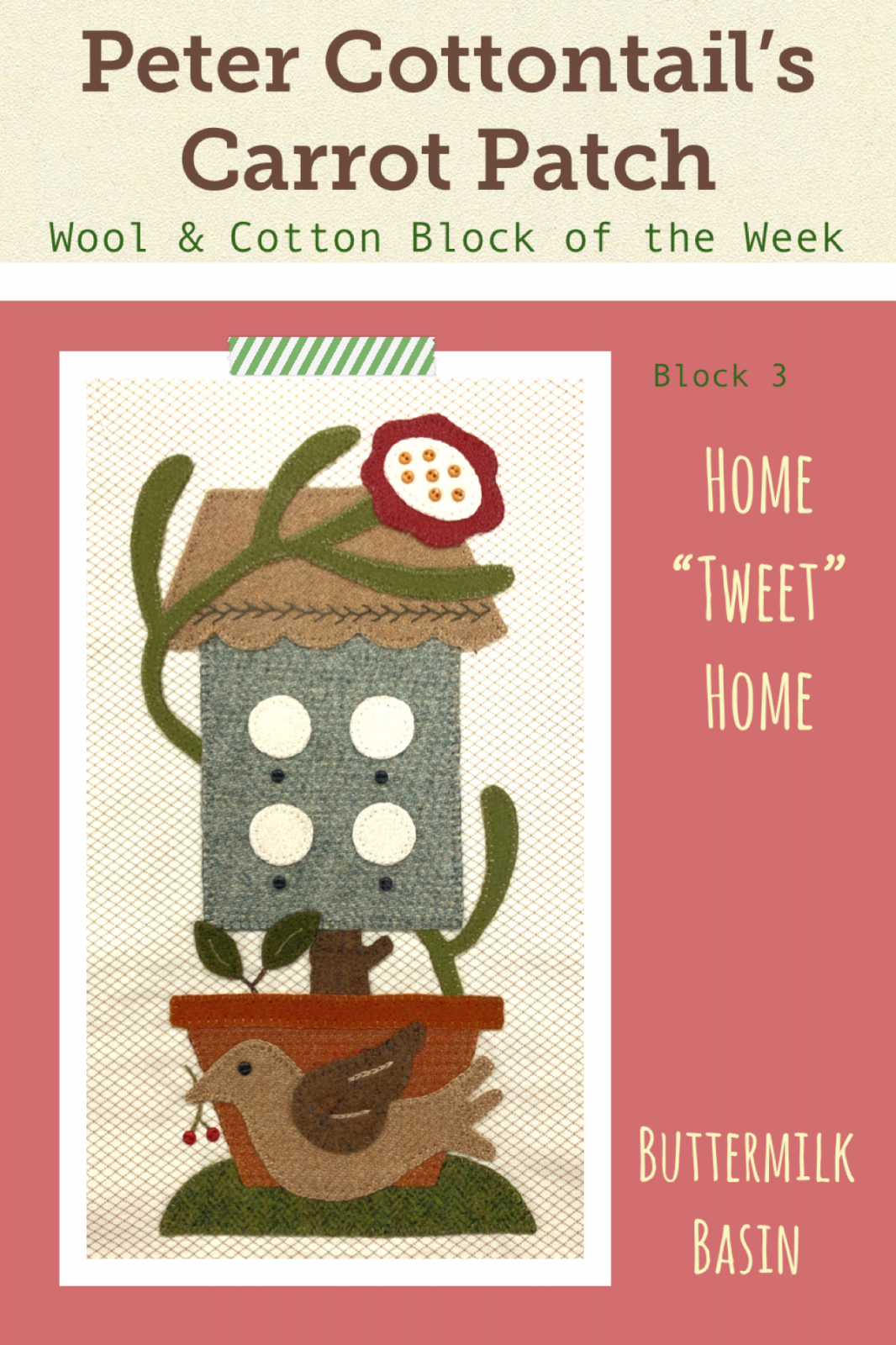 Peter Cottontail's Carrot Patch Block of the Week * Block #3 Kit & Pattern
