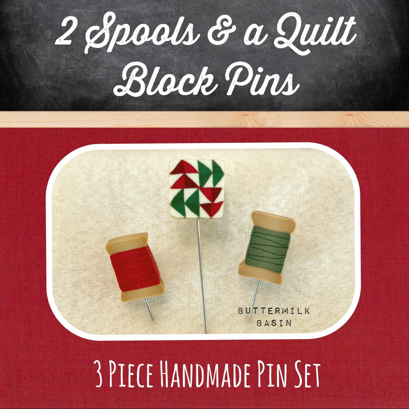 2 Spools & A Quilt Block Pins