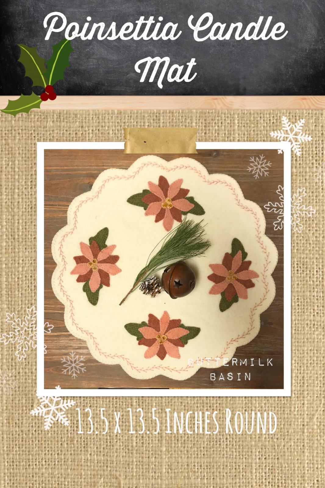 Poinsettia Candle Mat *Kit & Pattren
