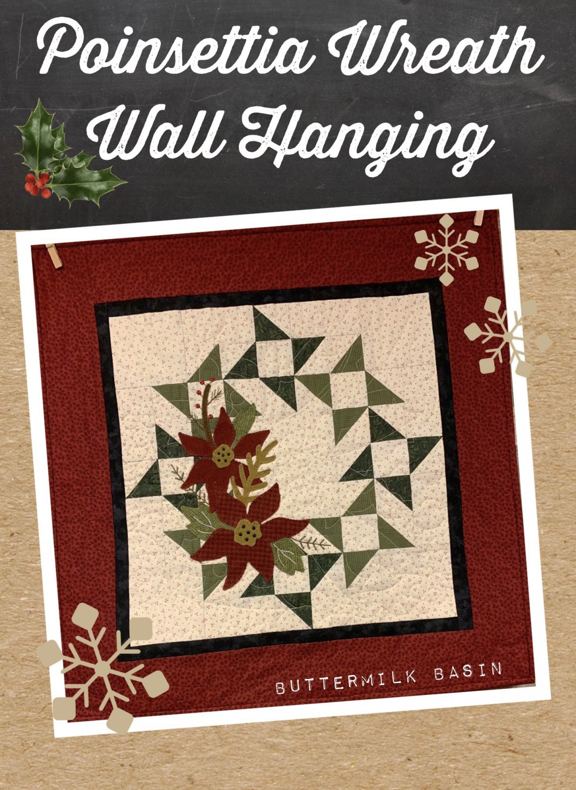 Poinsettia Wreath Wall Hanging * Pattern