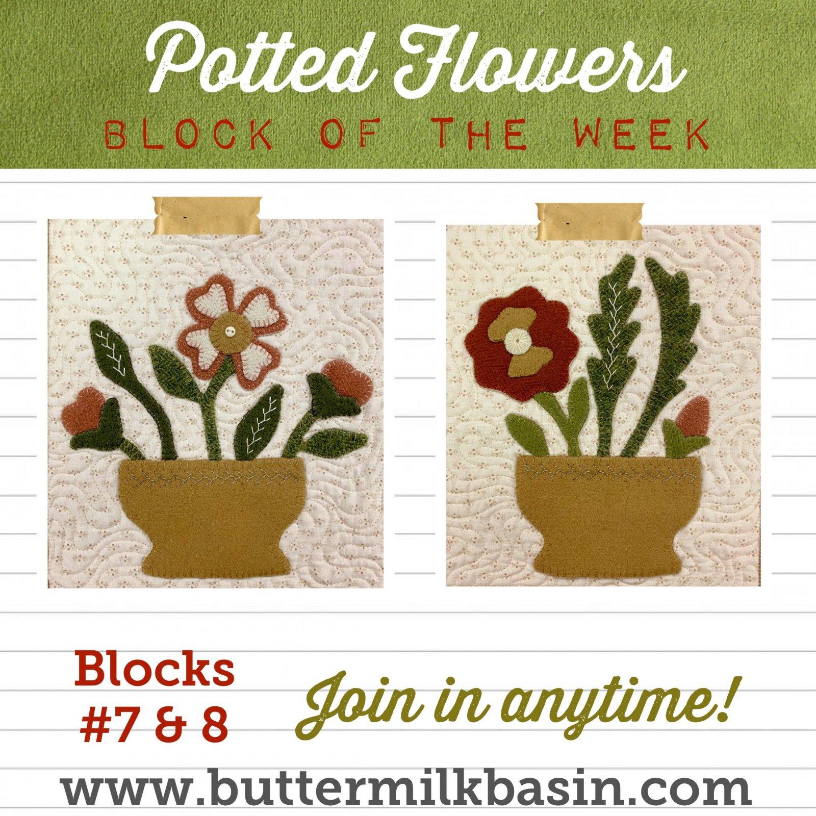 Vintage Potted Flowers Quilt Block of the Week *Blocks 7 & 8 Pattern & Kit