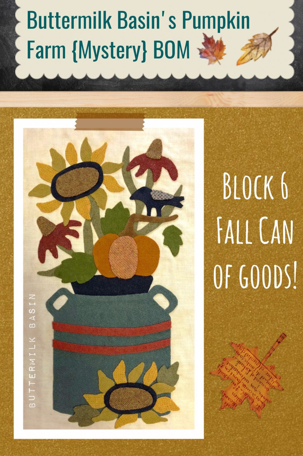 Buttermilk Basin's Pumpkin Farm {Mystery} BOM, Block 6 Kit and Pattern