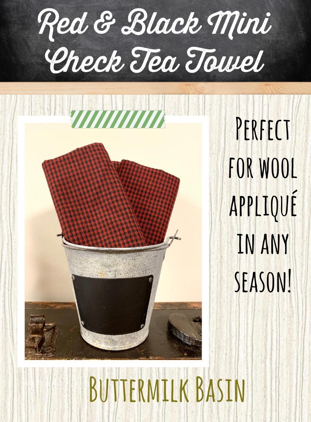 Red & Black Mini Check Tea Towel