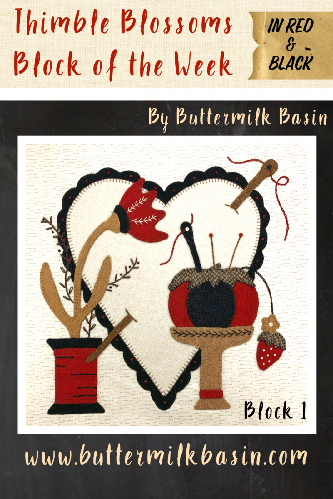 Red & Black Thimble Blossoms Block of the Week * Block #1 Kit & Pattern
