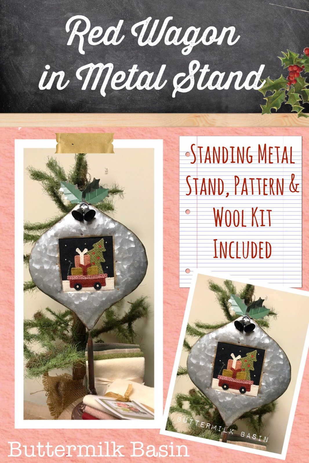 Red Wagon in Metal Stand * KIT, Pattern & Stand