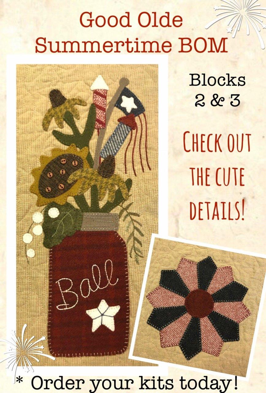 Sweet Olde Summertime Mystery BOM Block 2 & 3 KIT & Full Color Pattern