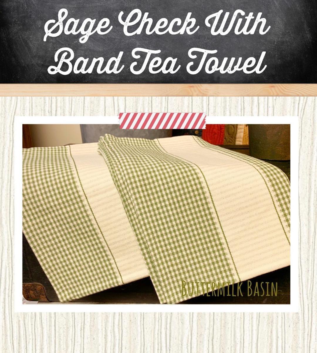 Sage Check with Band Tea Towel