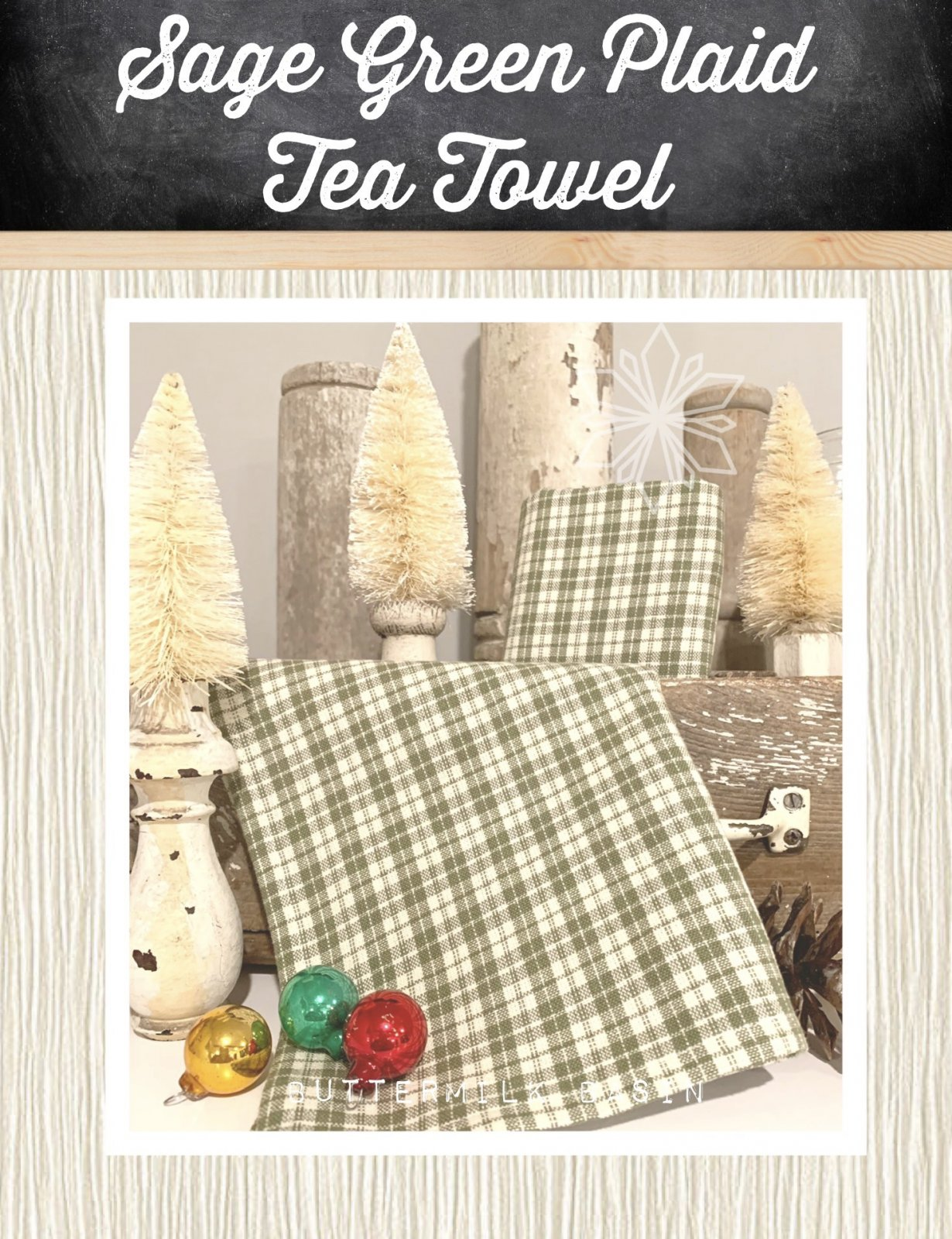 Sage Green Plaid Tea Towel
