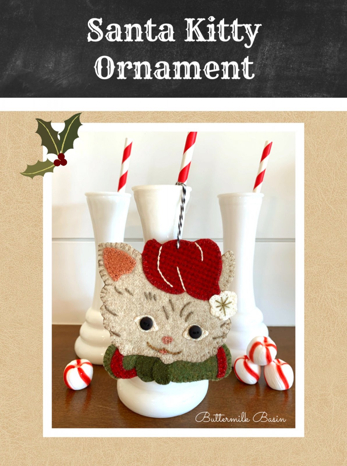 Santa Kitty Ornament * Kit & Pattern