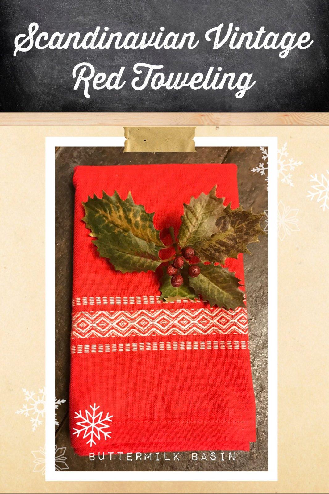 Scandinavian Vintage Red Toweling