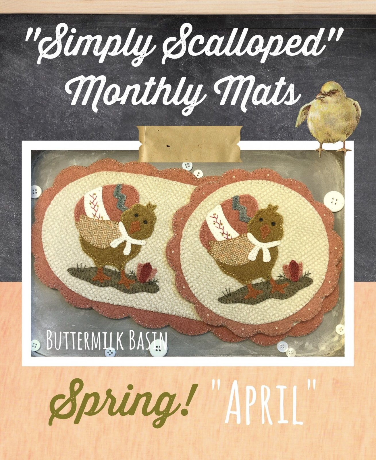 Simply Scalloped Mats Thru the Year - April Kit & Pattern for both Oval Mat & Round Mat