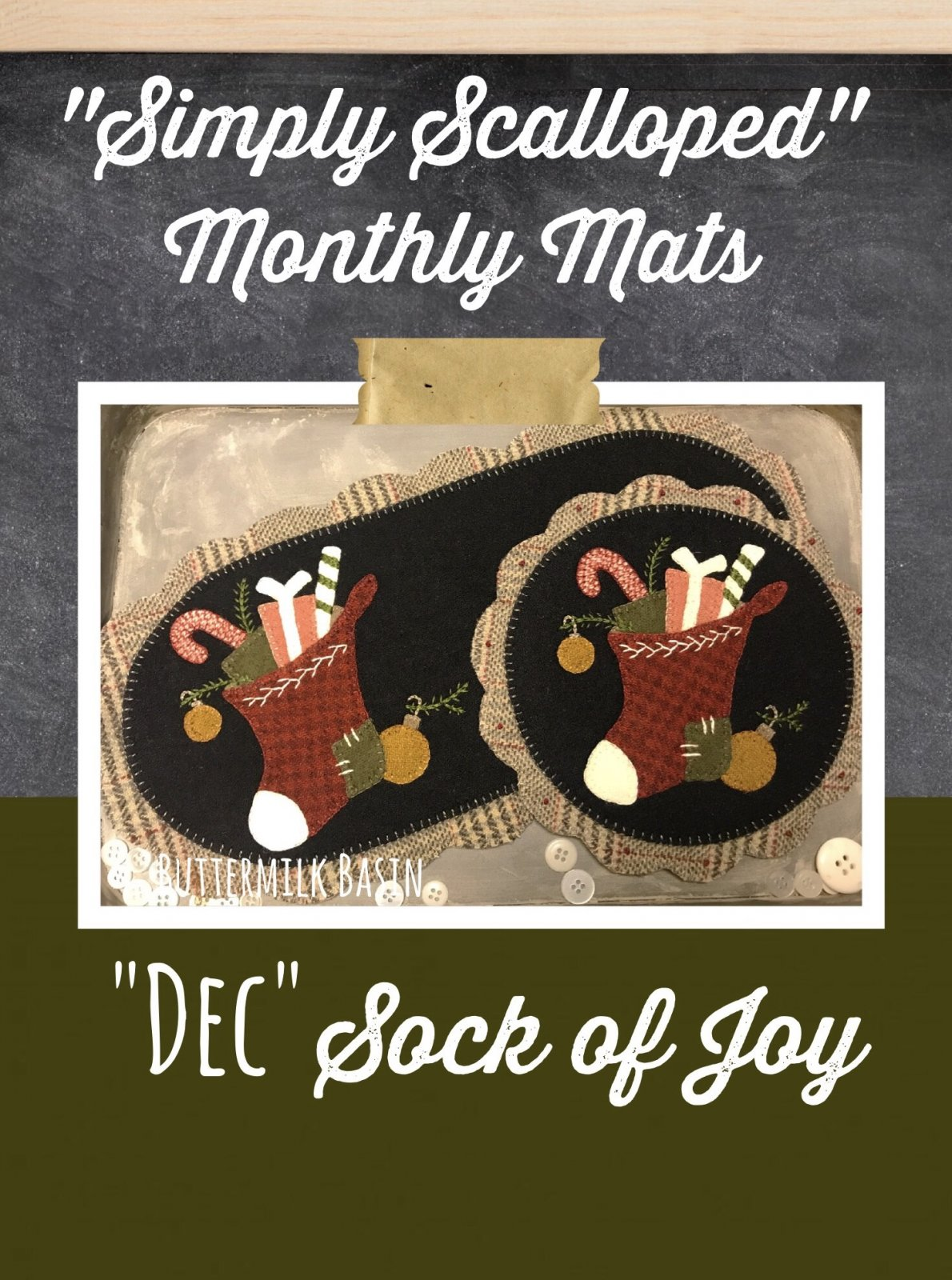 Simply Scalloped Mats Thru the Year - December Pattern & Kit for both Oval Mat & Round Mat